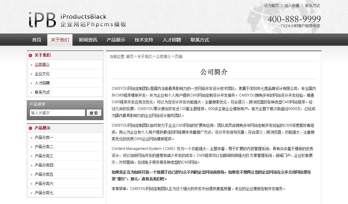 iProductsBlack企业网站Phpcms模板_002