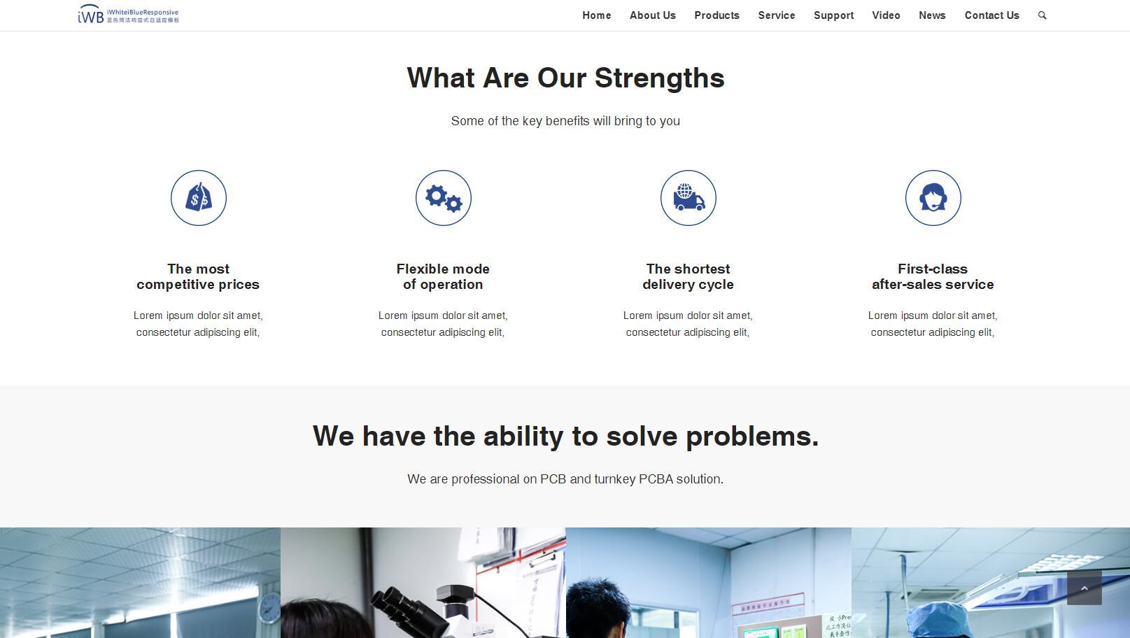 iWhiteiBlueResponsive蓝色响应式自适应Phpcms企业网站模板